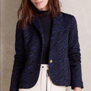 Anthropologie brand knit blazer - 4. Navy/black